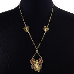 Art Nouveau Silver Gilt and Enamel Femme fleur Pendant Necklace - 717406