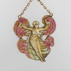 Art Nouveau Silver Gilt and Enamel Femme fleur Pendant Necklace - 717407