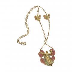 Art Nouveau Silver Gilt and Enamel Femme fleur Pendant Necklace - 718861