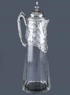 Art Nouveau Silver and Glass Claret Jug Germany C 1900 J Mayers Sohne - 1457589