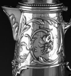 Art Nouveau Silver and Glass Claret Jug Germany C 1900 J Mayers Sohne - 1457590