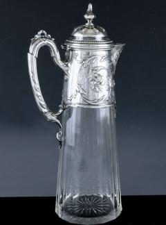 Art Nouveau Silver and Glass Claret Jug Germany C 1900 J Mayers Sohne - 1457592