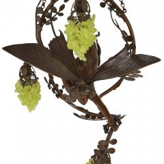 Art Nouveau period bronze and coloured glass chandelier - 1256069