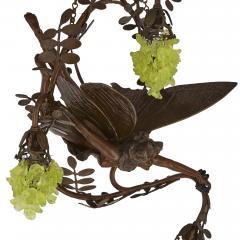 Art Nouveau period bronze and coloured glass chandelier - 1256070