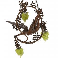 Art Nouveau period bronze and coloured glass chandelier - 1256071