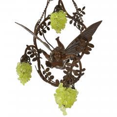 Art Nouveau period bronze and coloured glass chandelier - 1256072