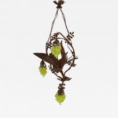 Art Nouveau period bronze and coloured glass chandelier - 1257149