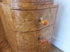 Art deco dressing table in birdseye maple with amber bakelite handles - 1942844