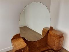 Art deco dressing table in birdseye maple with amber bakelite handles - 1942847