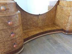 Art deco dressing table in birdseye maple with amber bakelite handles - 1942855