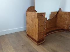 Art deco dressing table in birdseye maple with amber bakelite handles - 1942858