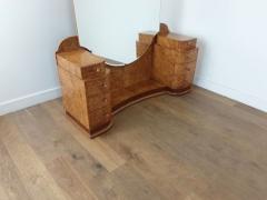 Art deco dressing table in birdseye maple with amber bakelite handles - 1942862