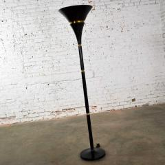 Art deco hollywood regency black and brass trumpet torchier floor lamp - 1668816