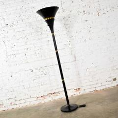 Art deco hollywood regency black and brass trumpet torchier floor lamp - 1668864