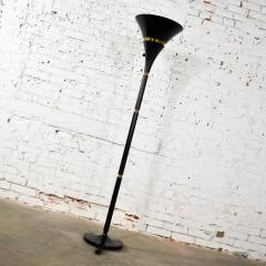 Art deco hollywood regency black and brass trumpet torchier floor lamp - 1668865