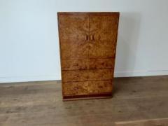 Art deco karelian birch linen press - 1942882