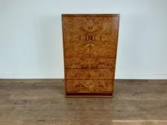 Art deco karelian birch linen press - 1942896