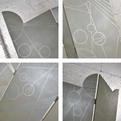 Art deco revival 3 panel folding screen or room divider gold silver bronze - 1881589
