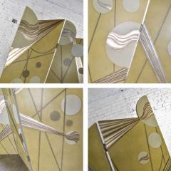Art deco revival 3 panel folding screen or room divider gold silver bronze - 1881592
