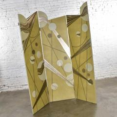 Art deco revival 3 panel folding screen or room divider gold silver bronze - 1881593