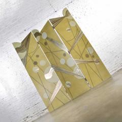 Art deco revival 3 panel folding screen or room divider gold silver bronze - 1881610