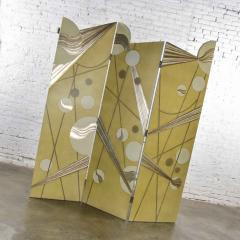 Art deco revival 3 panel folding screen or room divider gold silver bronze - 1881611