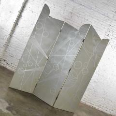Art deco revival 3 panel folding screen or room divider gold silver bronze - 1881613