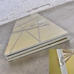 Art deco revival 3 panel folding screen or room divider gold silver bronze - 1881636