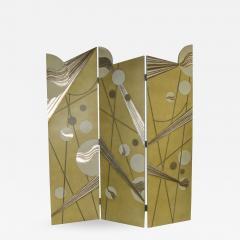 Art deco revival 3 panel folding screen or room divider gold silver bronze - 1883282