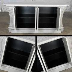 Art deco revival custom fluted off white oyster gray console cabinet buffet - 2130302