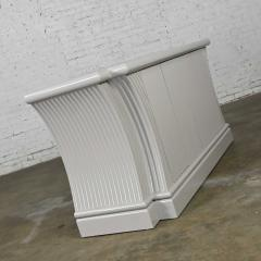 Art deco revival custom fluted off white oyster gray console cabinet buffet - 2130303