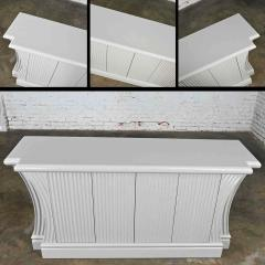 Art deco revival custom fluted off white oyster gray console cabinet buffet - 2130304