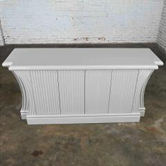 Art deco revival custom fluted off white oyster gray console cabinet buffet - 2130305