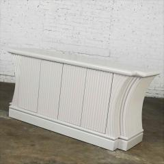 Art deco revival custom fluted off white oyster gray console cabinet buffet - 2130325