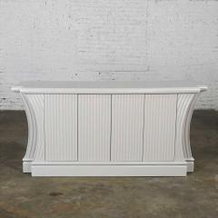 Art deco revival custom fluted off white oyster gray console cabinet buffet - 2130340
