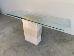 Artedi Contemporary Italian Travertine Marble Console Table after Artedi - 1920409