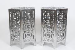 Arthur Court Pair of Arthur Court Style Hexagonal Polished Aluminum Occasional Tables - 1800450