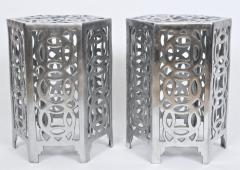 Arthur Court Pair of Arthur Court Style Hexagonal Polished Aluminum Occasional Tables - 1800456