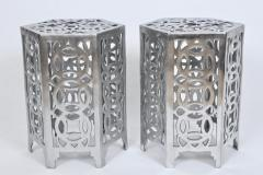 Arthur Court Pair of Arthur Court Style Hexagonal Polished Aluminum Occasional Tables - 1800468