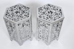 Arthur Court Pair of Arthur Court Style Hexagonal Polished Aluminum Occasional Tables - 1800469
