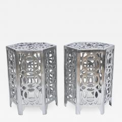 Arthur Court Pair of Arthur Court Style Hexagonal Polished Aluminum Occasional Tables - 1841430