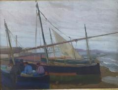 Arthur Grover Rider Spanish Coastal Scene with Fishermen in Boats - 1712247