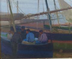 Arthur Grover Rider Spanish Coastal Scene with Fishermen in Boats - 1712249