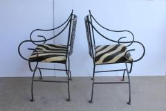 Arthur Umanoff Midcentury Wrought Iron and Cowhide Sunburst Armchairs by Arthur Umanoff - 686972