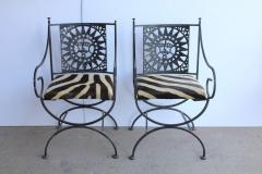 Arthur Umanoff Midcentury Wrought Iron and Cowhide Sunburst Armchairs by Arthur Umanoff - 686973