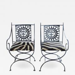 Arthur Umanoff Midcentury Wrought Iron and Cowhide Sunburst Armchairs by Arthur Umanoff - 687482