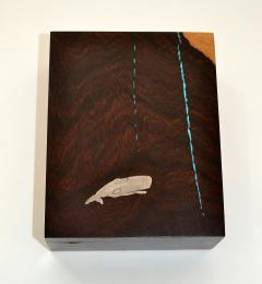 Artisan Box of Exotic Wood Turquoise and Silver by Larry Favorite - 1045690