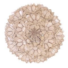 Artisan Flower Chandelier with Translucent Sea Shells 1970s - 1962972