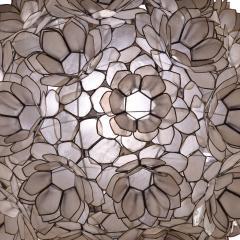 Artisan Flower Chandelier with Translucent Sea Shells 1970s - 1962975