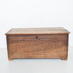 Artisan Hand Carved Blanket Chest in Solid Wood with Relief Detail 1920s - 2023757